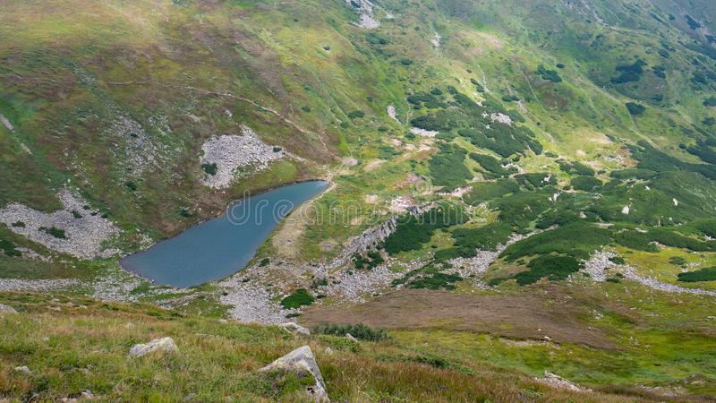 Lake in the Carpathians in the summer sunny day royalty free stock photo