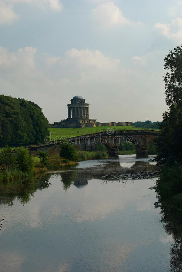 Lake Castle Howard Yorkshire. Looking towards mausoleum from the lake Castle Howard stock photography