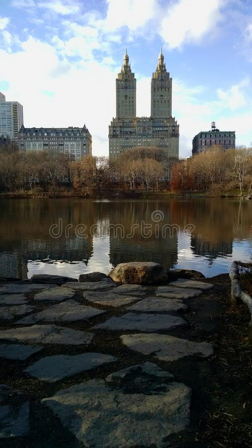 A lake in central park. royalty free stock image