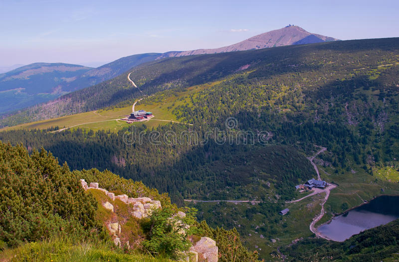 Lake and chalets in Giant Mountains. Poland stock images