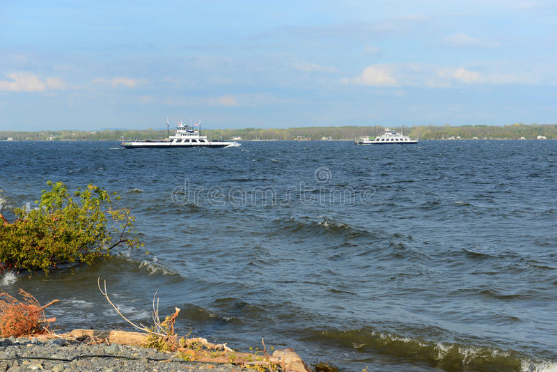 Lake Champlain, Vermont, USA. Ferries on Lake Champlain near Cumberland Head in town of Plattsburgh, Upstate New York, USA royalty free stock images