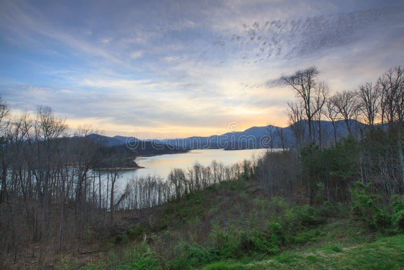Lake Chatuge at Daybreak in Hiawassee Georgia stock images