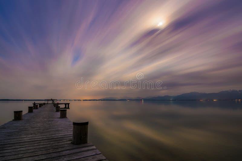 Lake Chiemsee at dusk stock photo
