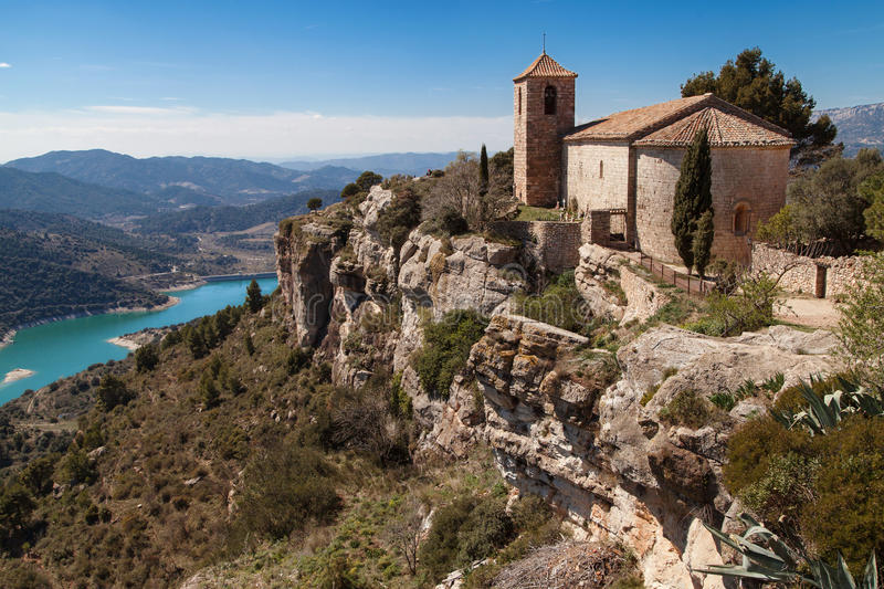 Lake and Church of Siurana stock photos