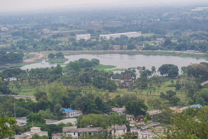 Lake and City Landscape Dewas. Lake, Trees , Cenotaphs of Rulers of Dewas State, Buildings and Landscape of Dewas Madhya Pradesh Central India royalty free stock images