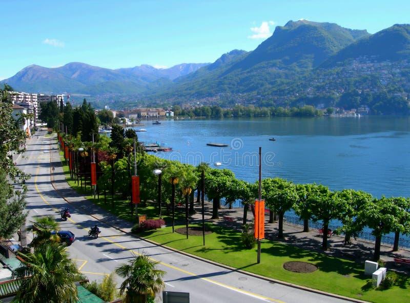 Lake and city of Lugano royalty free stock photos