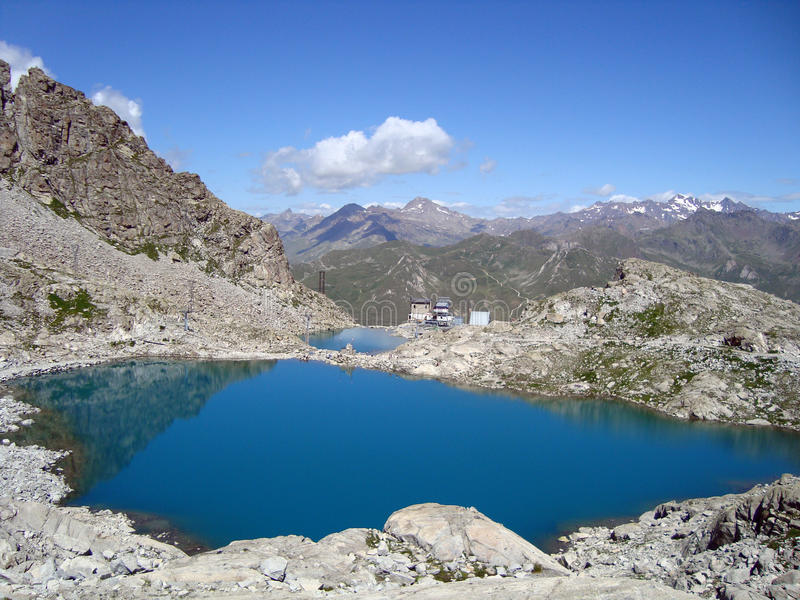 Lake they climb on. View of mountain with sight of two little ponds royalty free stock image