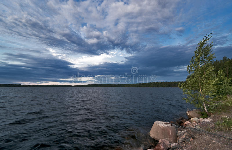 Lake in cloudy windy weather. Finland Saimaa lake in cloudy windy weather stock photos