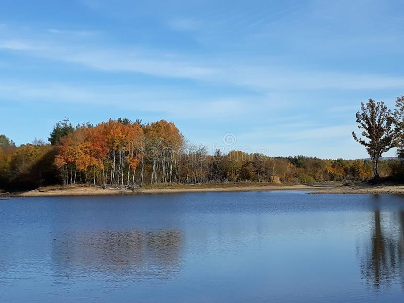Lake with colourful trees on autumn day stock photography