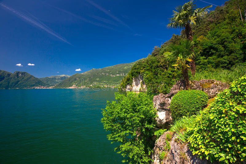 Lake Como and Alpine mountains in Lombardy region, Italy royalty free stock photography