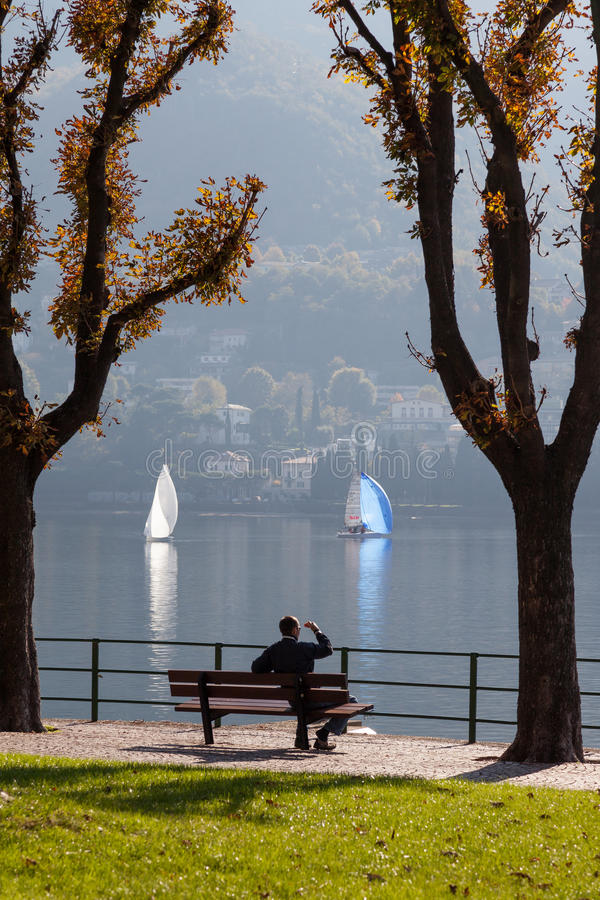 LAKE COMO, ITALY/EUROPE - OCTOBER 29 : Lake Como at Lecco in Italy on October 29, 2010. Unidentified man. stock image
