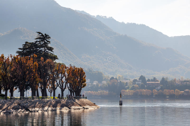 LAKE COMO, ITALY/EUROPE - OCTOBER 29 : Lake Como at Lecco in Italy on October 29, 2010. Unidentified people. stock images