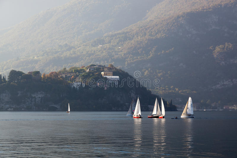 LAKE COMO, ITALY/EUROPE - OCTOBER 29 : Sailing on Lake Como Lecco Italy on October 29, 2010 royalty free stock photography