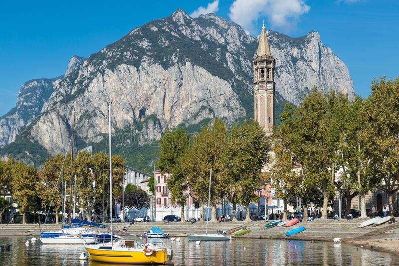 Lake Como, Italy. Lecco, picturesque town overlooking the lake stock images