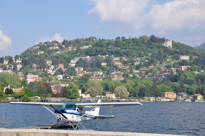 Lake Como Italy water plane royalty free stock image