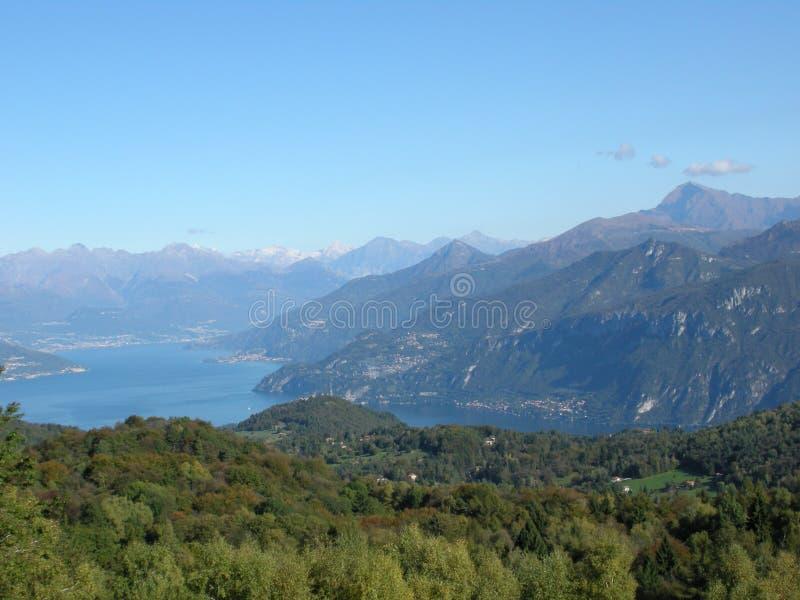 Lake Como panorama with alps Italy stock photos