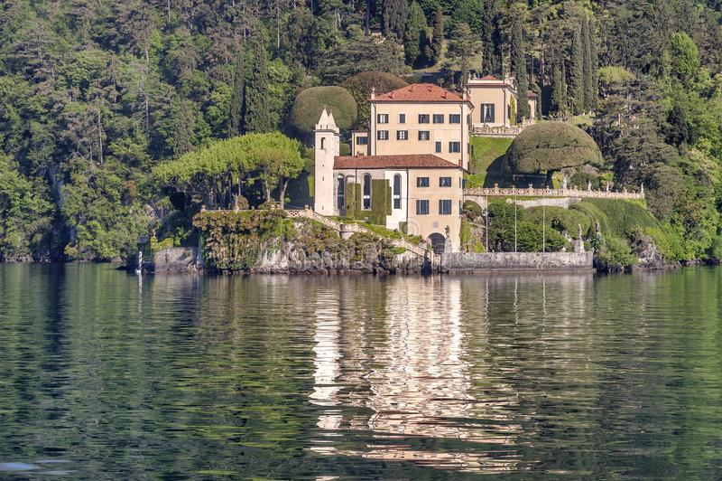 Lake of Como at Villa Balbianello. Beautiful villages on the Lago di Como: Villa Balbianello, located in the north of Italy.nPhoto Taken On: April, 2017 stock photo