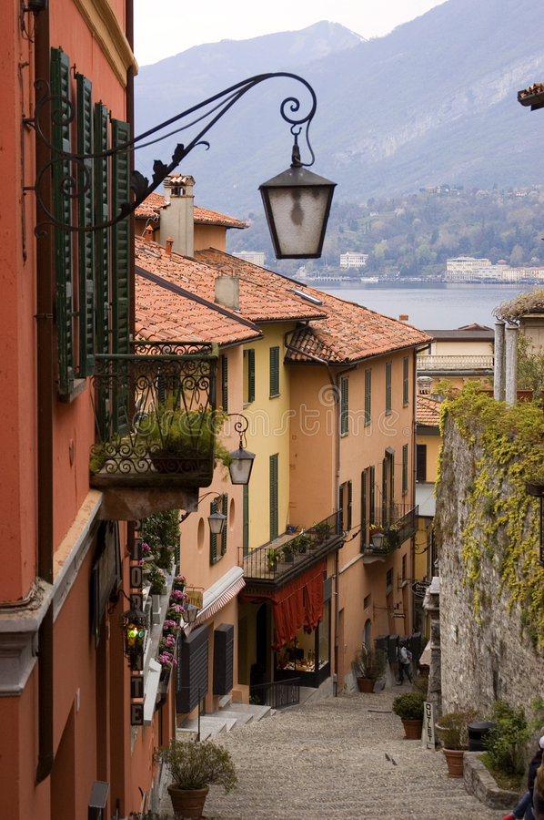 Lake Como Village Street Stock Photo Image Of Como