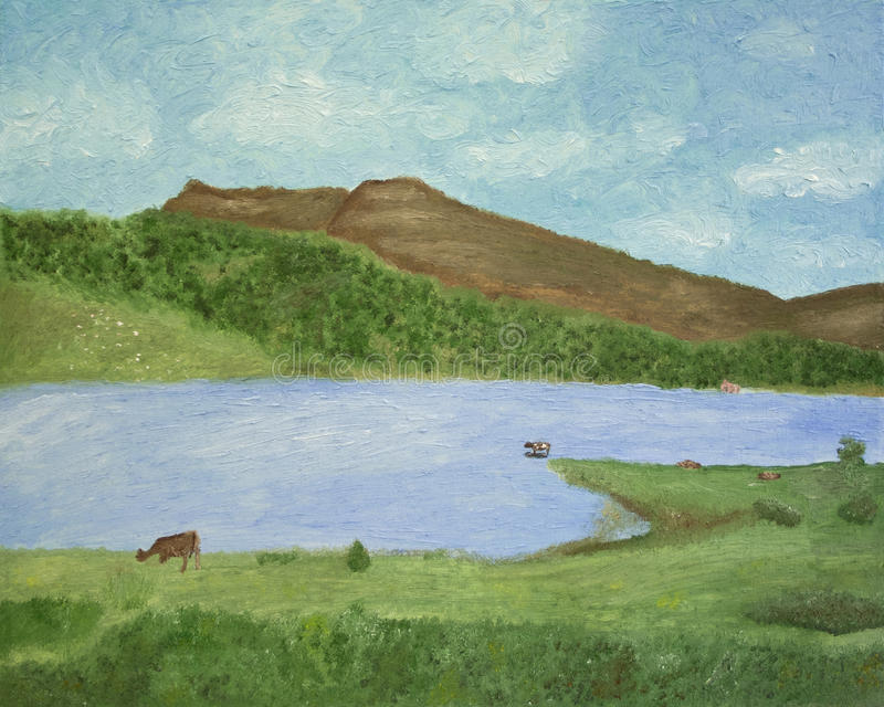 Lake in countryside. Painted landscape of lake in countryside with blue sky and cloudscape background royalty free stock photography