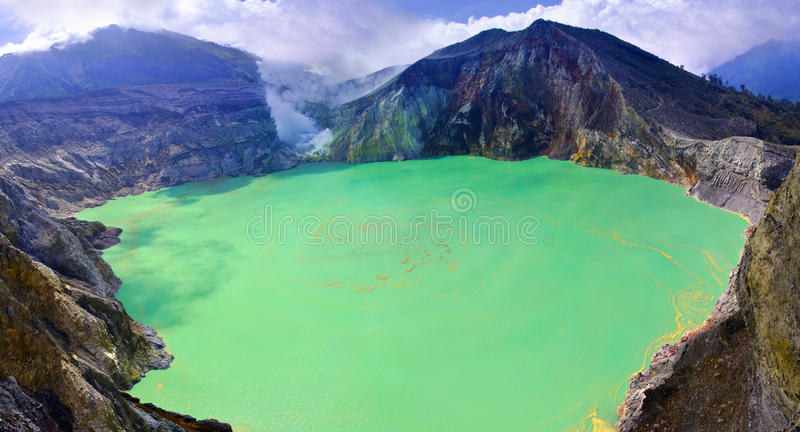 lake in a crater of volcano Ijen. Indonesia stock image
