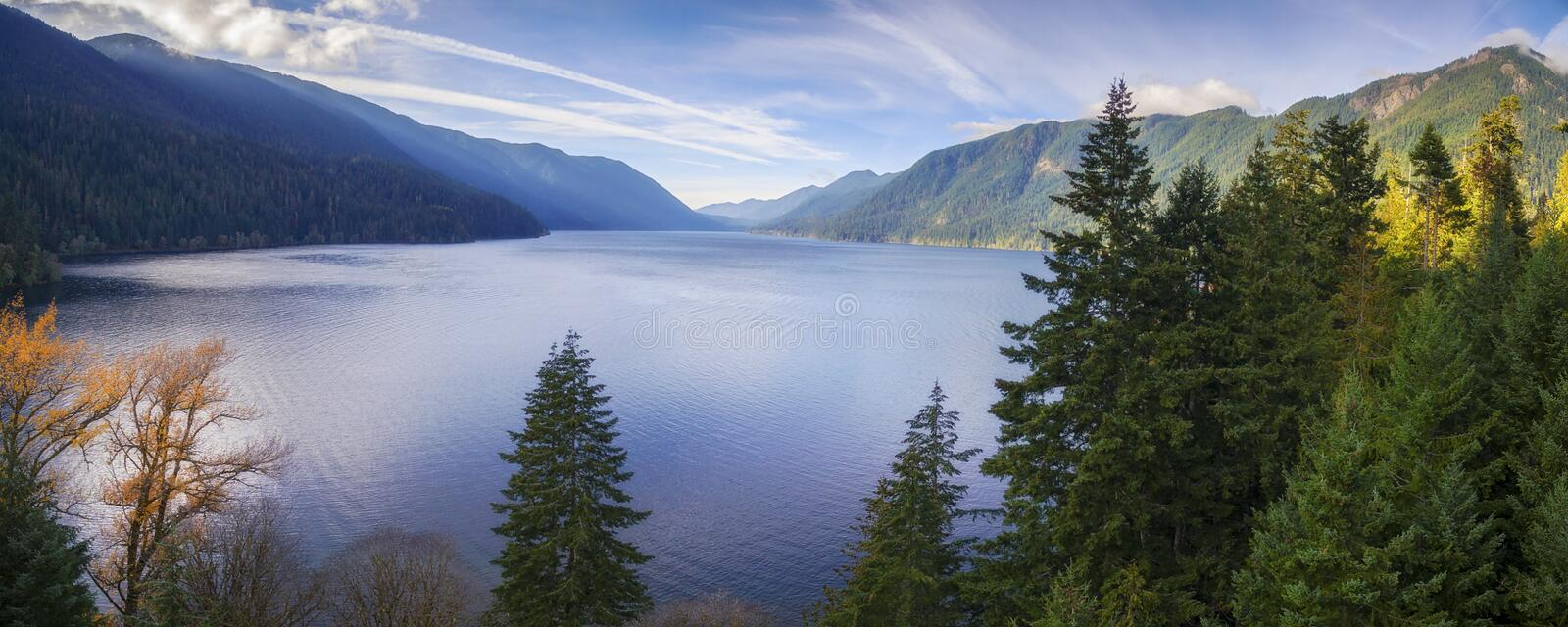 Aerial View of Lake Crescent in the Olympic Peninsula. Lake Crescent is a deep lake located entirely within Olympic National Park in Washington, United States royalty free stock image