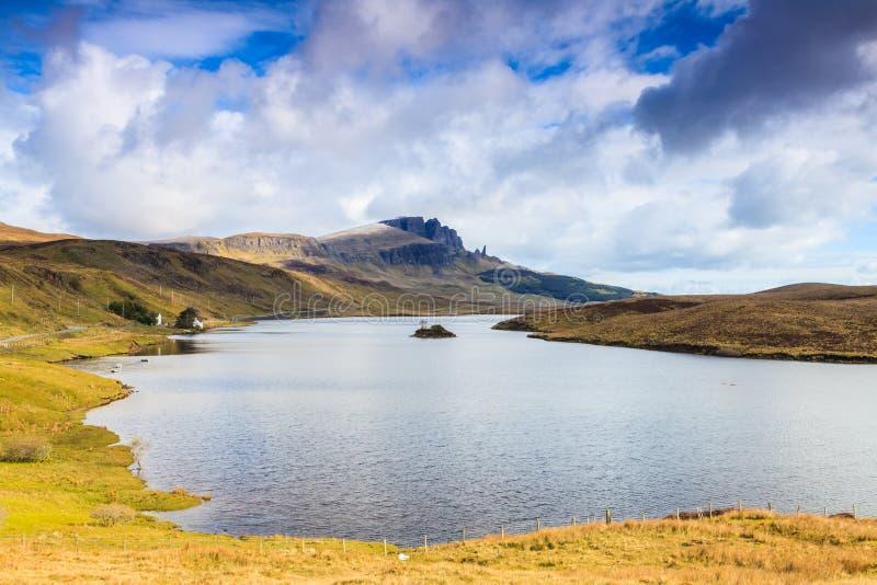 Lake in a desolate mountain landscape stock photos
