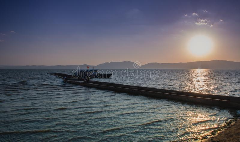 Lake dianchi in kunming. Dianchi lake, kunming, China, is a freshwater lake on the plateau, a beautiful place to visit stock photo