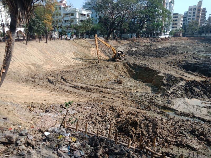 Lake digging pic. Uttara Dhaka Bangladesh royalty free stock photo