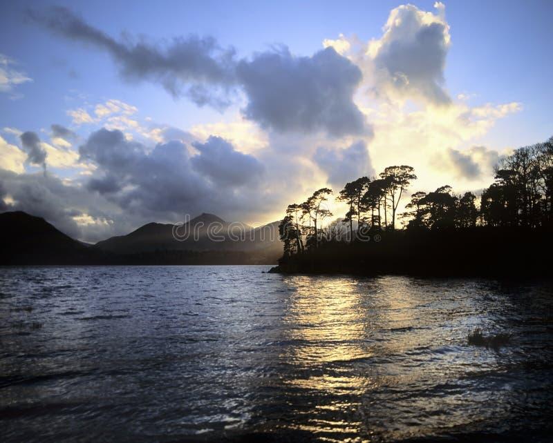 Lake district. National park cumbria england uk - cloudburst and sunburst, sunset over causey pike and derwentwater stock photos