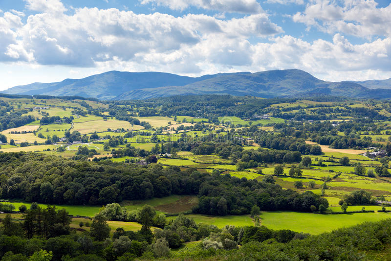 Lake District countryside view near Hawkshead village England uk. Lake District countryside view Hawkshead England uk on a beautiful summer day near this popular royalty free stock image