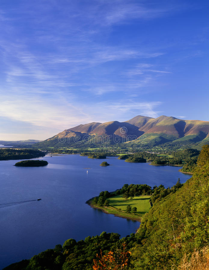 Lake district evening, Derwentwater stock images