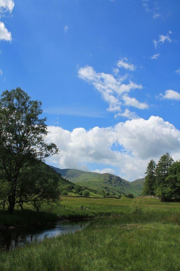 River Brathay Lake District Landscape Little Langdale Cumbria. Little Langdale Valley in the Lake District National Park Cumbria stock images
