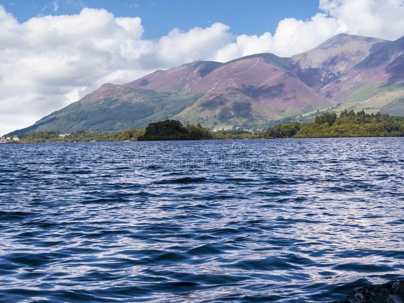 Derwentwater in the Lake District in North West England. The Lake District is a place of considerable scenic beauty. It is surrounded by hills known locally as royalty free stock photo