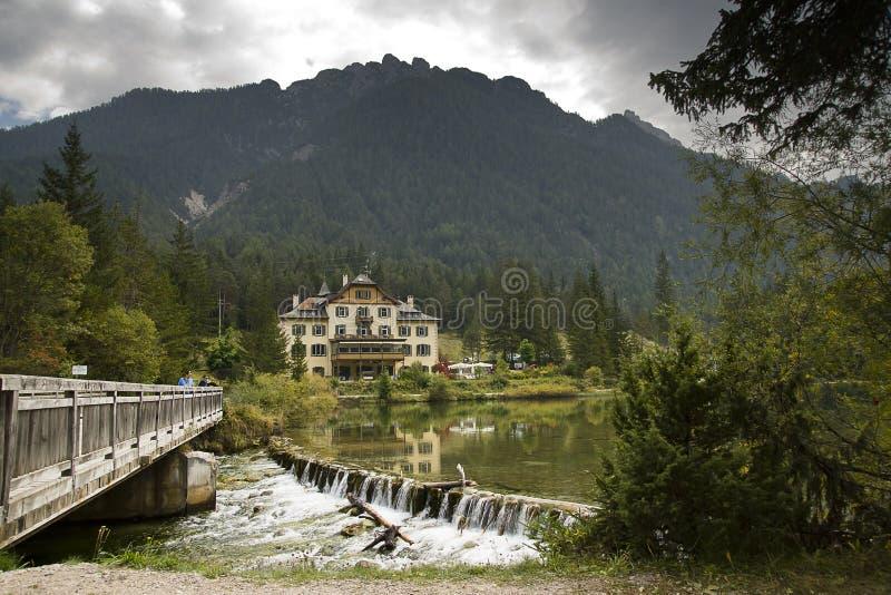 Lake Dobbiaco Dolomites Italy stock photos
