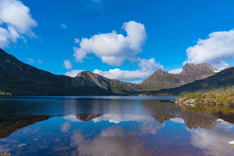 Lake Dove and Cradle mountain panorama landscape stock images