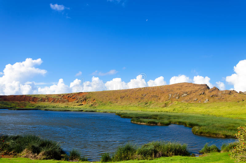 Lake on Easter Island. Beautiful lake and landscape on Easter Island in Chile royalty free stock image