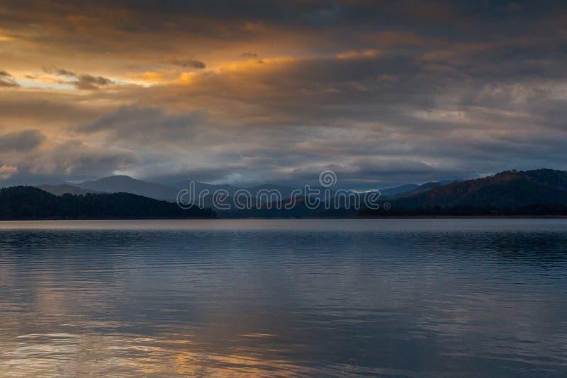 Lake Eildon moody sunrise, scenery and mountains royalty free stock image