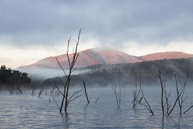 Lake Eildon scenery and mountains stock photography