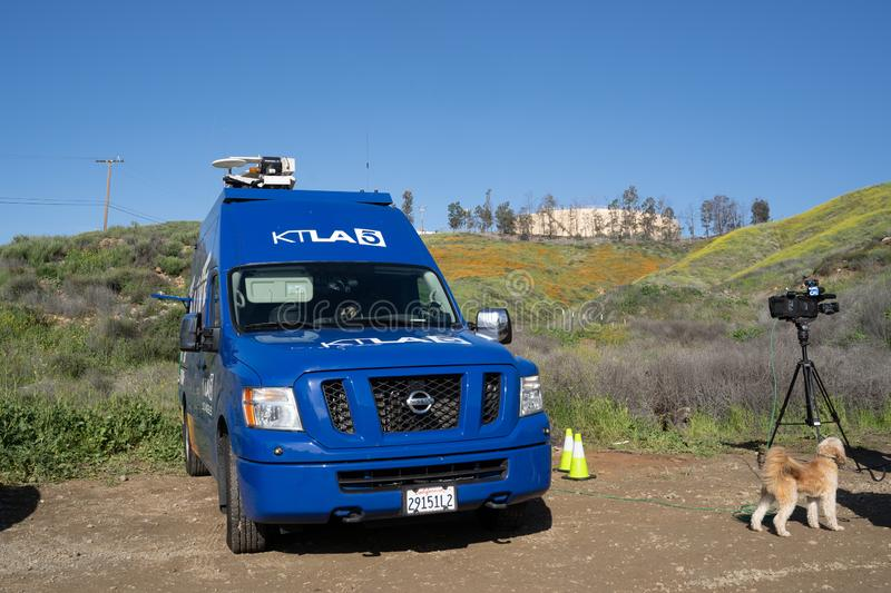 Lake Elsinore, California - The KTLA 5 News van, a CW-affiliated television station, prepares to broadcast live royalty free stock photo