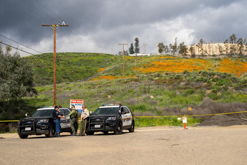 Lake Elsinore, California - March 20, 2019: Riverside County sheriff department and the Lake Elsinore Police patrol the Walker stock images