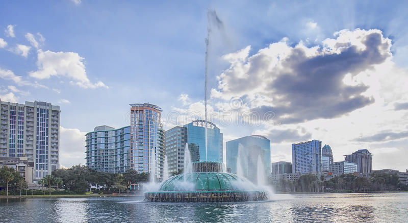 Lake Eola Water Fountain royalty free stock photo