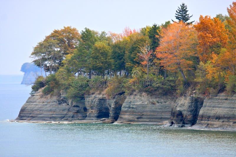 Lake Erie Cliffs In Autumn Stock Photo