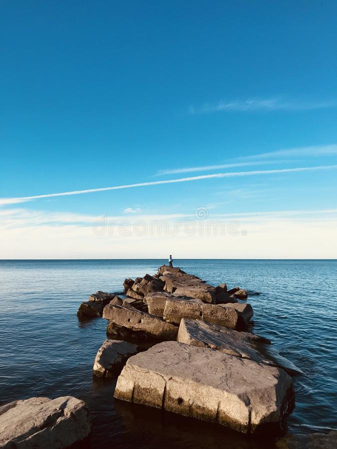 Lake Erie is the fourth-largest lake of the five Great Lakes in North America. And the eleventh-largest globally if measured in terms of surface area. It is royalty free stock image
