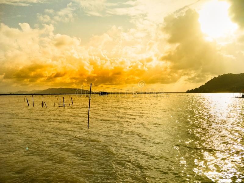Lake in the evening royalty free stock photography