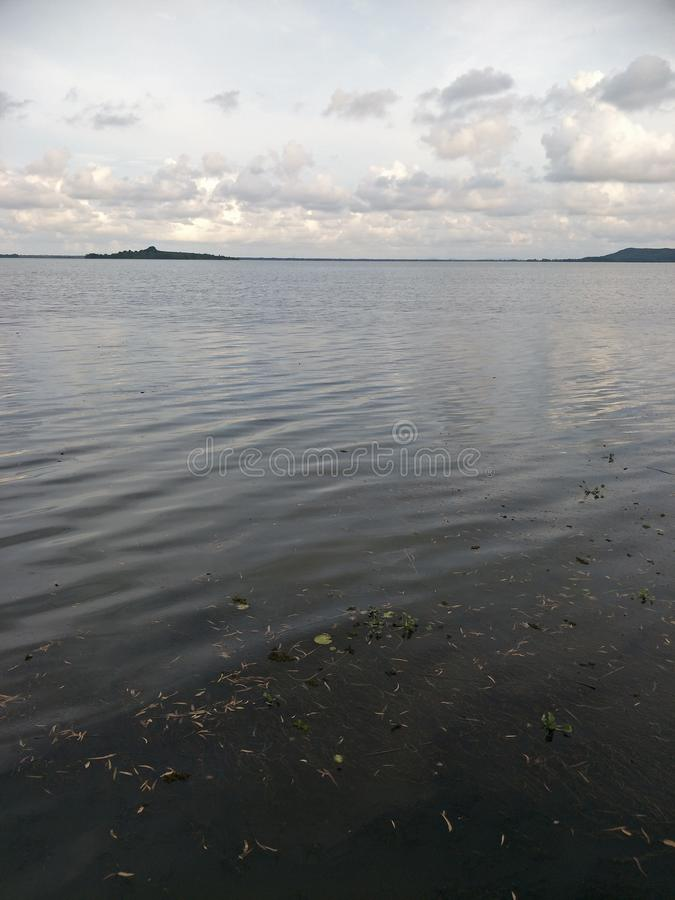 Lake in the evening. A lake is an area filled with water, localized in a basin, that is surrounded by land, apart from any river or other outlet that serves to stock photo