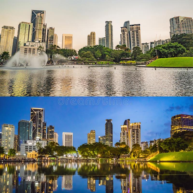 Lake in the evening, near by Twin Towers with city on background. Kuala Lumpur, Malaysia. Morning afternoon Evening royalty free stock photo