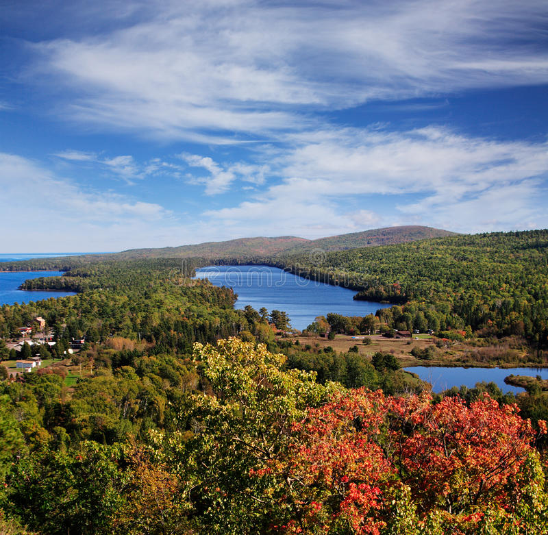 Copper Harbor. Lake Fanny Hooe And Copper Harbor Seen From The Brockway Mountain Overlook, Michigan, Upper Peninsula, Lake Superior, USA stock images