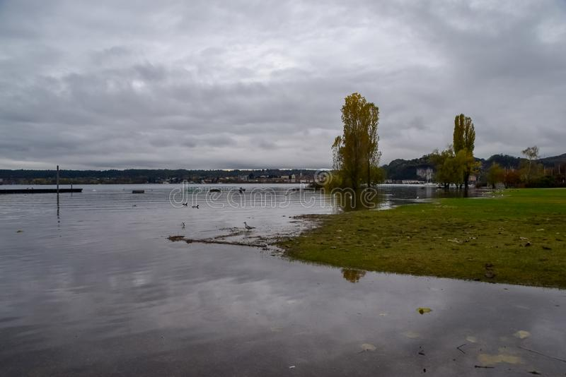 Lake flooding. Some foreshortenings portrayed after the flood of Lake Maggiore royalty free stock images