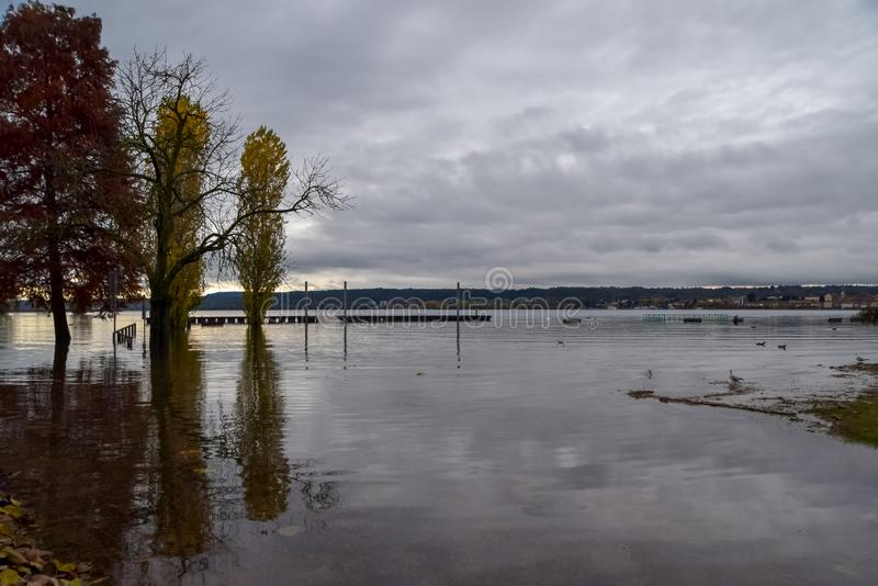 Lake flooding. Some foreshortenings portrayed after the flood of Lake Maggiore stock image