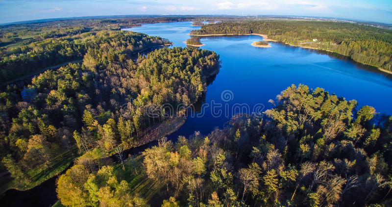 Lake and forest aerial stock photo